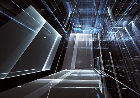Fondo abstracto de tecnología futura - imagen 3D generada por computadora. Arte fractal: sala de cristal o calle de ciudad surrealista con efectos de luz. Concepto de alta tecnología o realidad virtual.