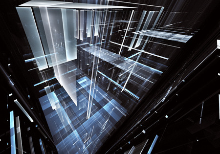 Abstract future technology background - computer-generated 3D image. Fractal art: glass room or street of surreal city with light effects. Hi-tech or virtual reality concept.