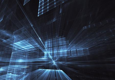 Arte fractal - imagen 3D de computadora, fondo tecnológico