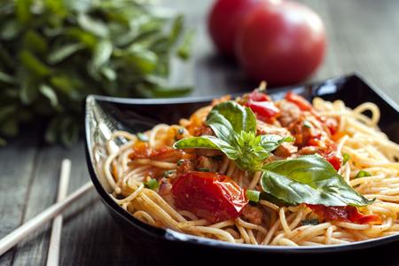 Spaghetti in tomato sauce with chicken