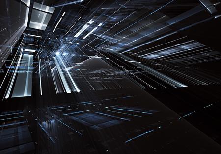 Imagen de tecnología abstracta generada por ordenador. Fractal tridimensional 3D, textura