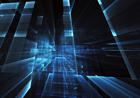 Abstract 3D fractal background, 3D illustration. Virtual Neon City