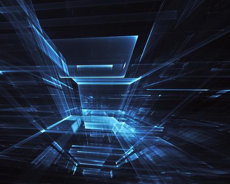 Ilustración 3D de tecnología abstracta generada por ordenador. Fractal tridimensional 3D, textura