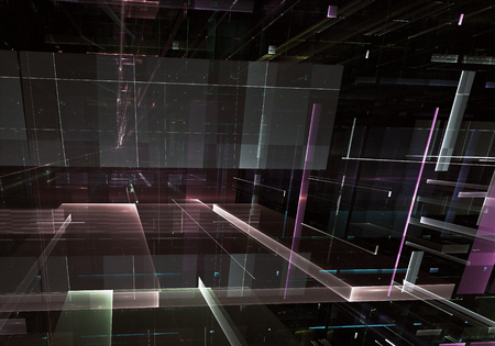 Computer generated abstract tehnology 3D illustration. Three-dimensional 3D fractal, texture