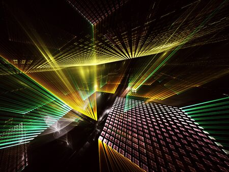 Abstract dynamic background with lighting effect. Fractal art. Abstract 3D fractal background, 3D illustration.