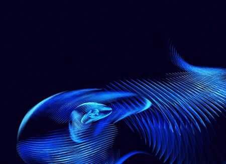 On a blue background blue abstract waves - 3D fractal render.