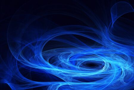 On a blue background blue abstract waves - 3D fractal render.