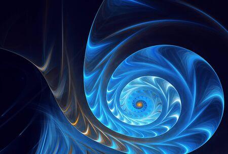 Dynamischer Hintergrund der abstrakten Farbe mit Lichteffekt. Fraktale Spirale. Fraktale Kunst Standard-Bild