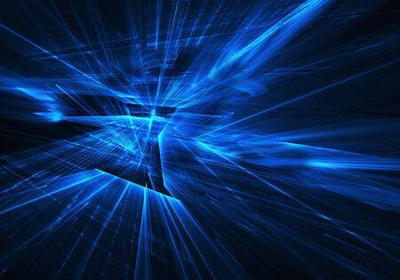 Fraktaler Hintergrund zur Verwendung in Kreativitäts- und Designprojekten. Technologisches Fraktal. Abstrakte 3D-Darstellung