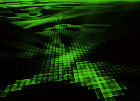 In green, a technological textured background is a 3D fractal rendering. 版權商用圖片
