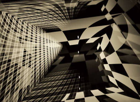 In gray, a technological textured background is a 3D fractal rendering.