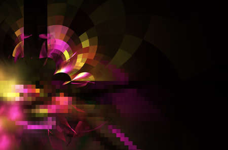 In color, a technological textured background is a fractal rendering.