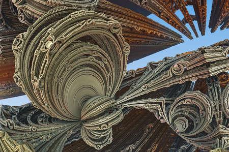 Abstract artwork - 3d illustration, organic geometric shapes. 版權商用圖片