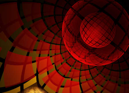 In red, a technological textured background is a 3D fractal rendering.