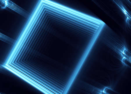 In blue, a technological textured background is a 3D fractal rendering. 版權商用圖片