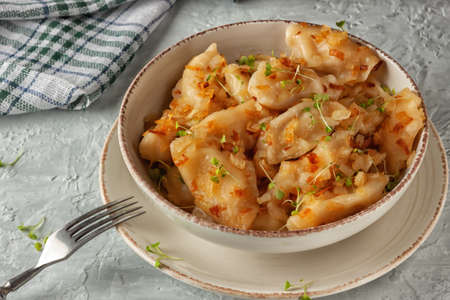 A national dish. Ukrainian dumplings, vareniki, pies fried with onions.