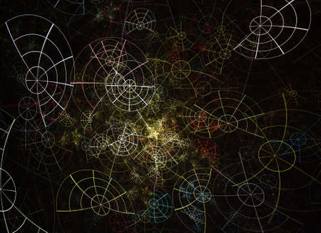 In color, a technological textured background is a 3D fractal rendering.