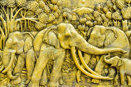 wood carving: Thai elephant carves