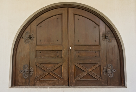 History of ancient wooden door. photo