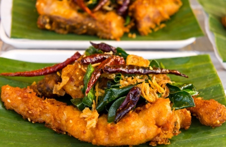 Fried fish with herbs  photo