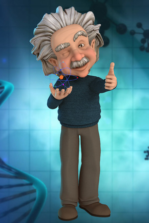 cartoon atom: Scientist with Atom in his Hands Cartoon with Background