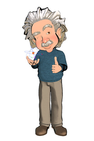 cartoon atom: Scientist with Atom in his Hands Cartoon