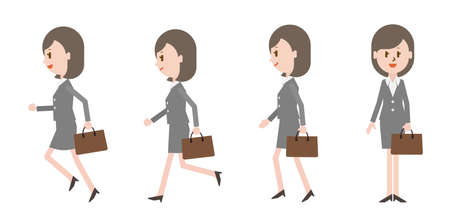 Businesswoman with bag (run, walk)