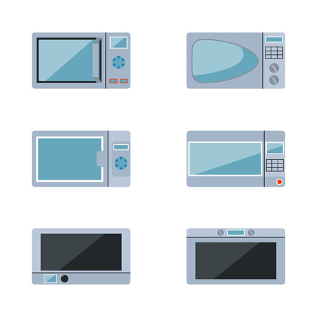 microwave ovens: microwave ovens set on a white background Illustration