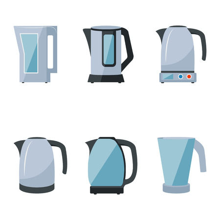 electric kettles set on a white background Vector