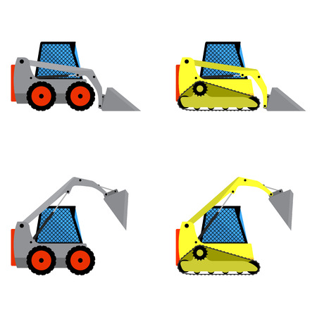 crawler tractor: Small loaders set on a white background Illustration