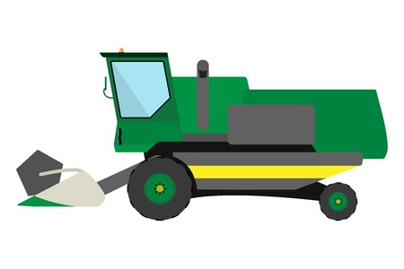 harvester: Obsolete green harvester on a white background
