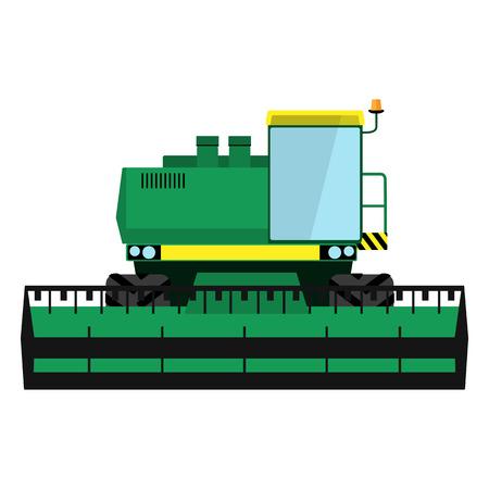 Modern green harvester on a white background