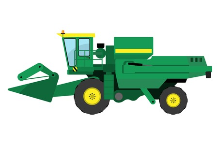 processed: Modern green harvester on a white background