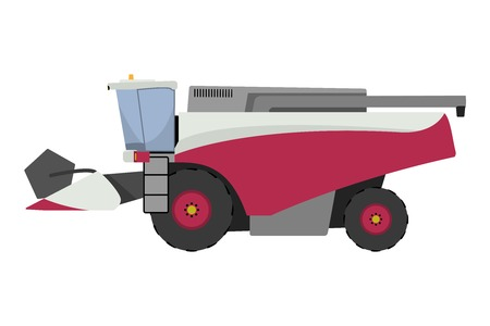 Modern red combine harvester on a white background Vector