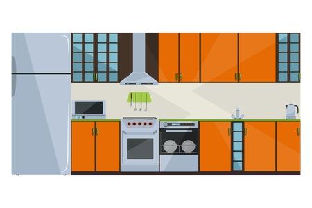Orange kitchen on a white background Vector