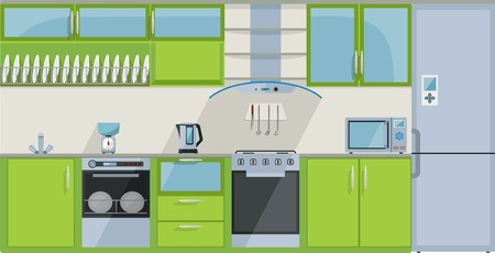 extractor: Green kitchen on a white background Illustration