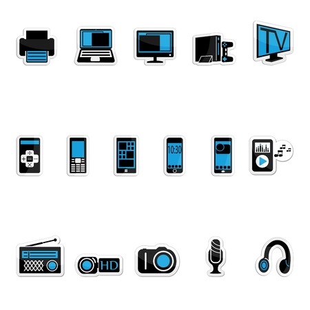consumer electronics: Consumer electronics icon set on a white background Illustration