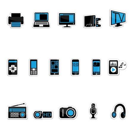 photo printer: Consumer electronics icon set on a white background Illustration
