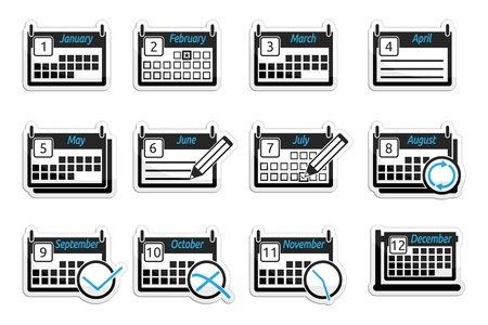 canceled: Set of icons of calendars on white background Illustration
