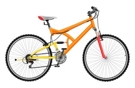 racing bike: Two suspension mountain bike isolated on white background