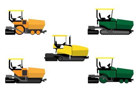 アスファルト舗装機械、白の背景に設定  イラスト・ベクター素材