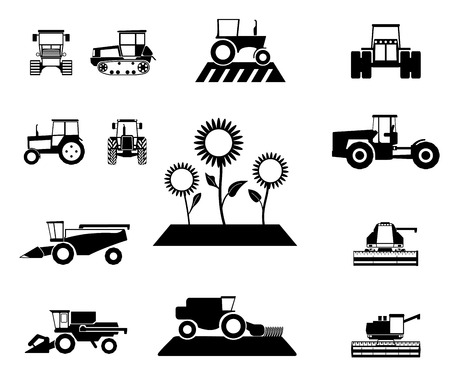 vector agricultural vehicles set Vector