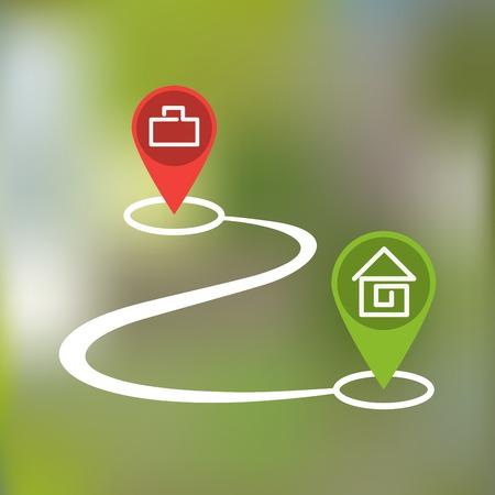 ホームの段落と曲線状のパスと背景をぼかし上の仕事