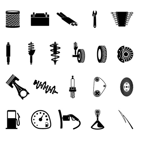 auto parts: auto parts icon set on gray background Illustration