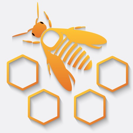 wax glossy: Icon bee and honeycomb. Vector illustration