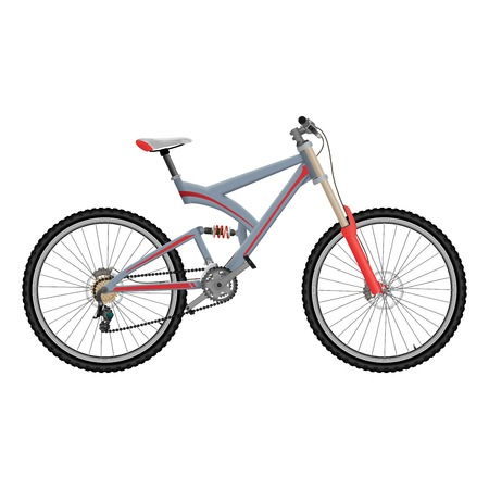 Downhill extreme sport bicycle on white background. Two suspension bike with hydraulic disc brakes. Illustration
