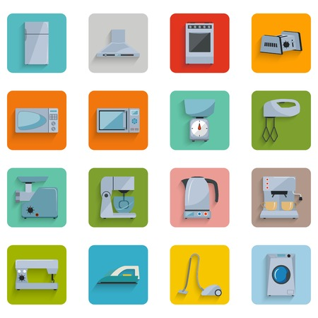 Set of icons of home appliances with shadow on a colored background Ilustração