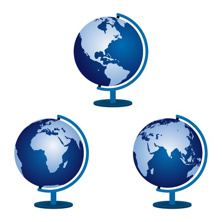 Three globe on a white background.  Vector
