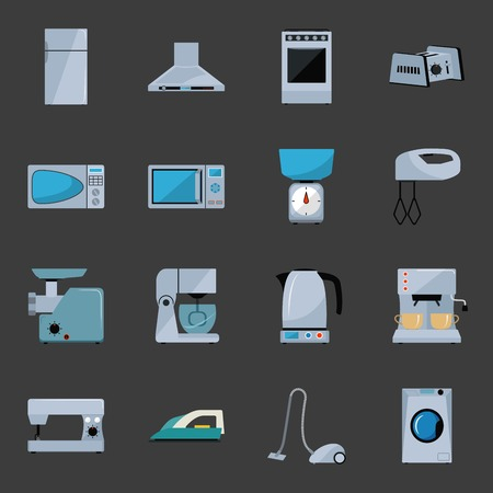 iron fan: Set of household appliances flat icons with a fridge Illustration