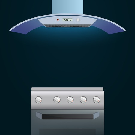 extractor: Modern oven and extractor on a dark background